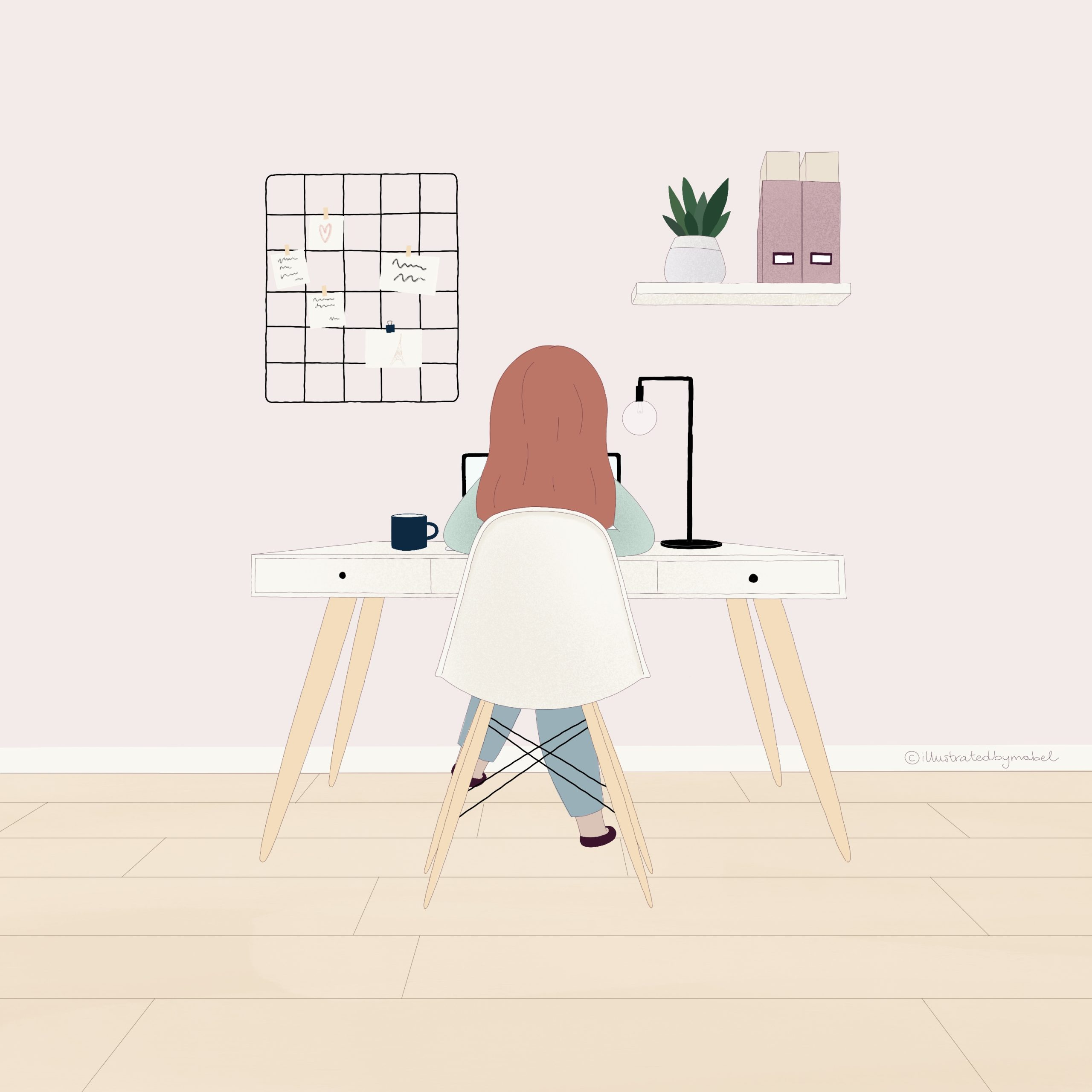 Custom illustration services - girl working at a desk in a modern and stylish room seen from the back.