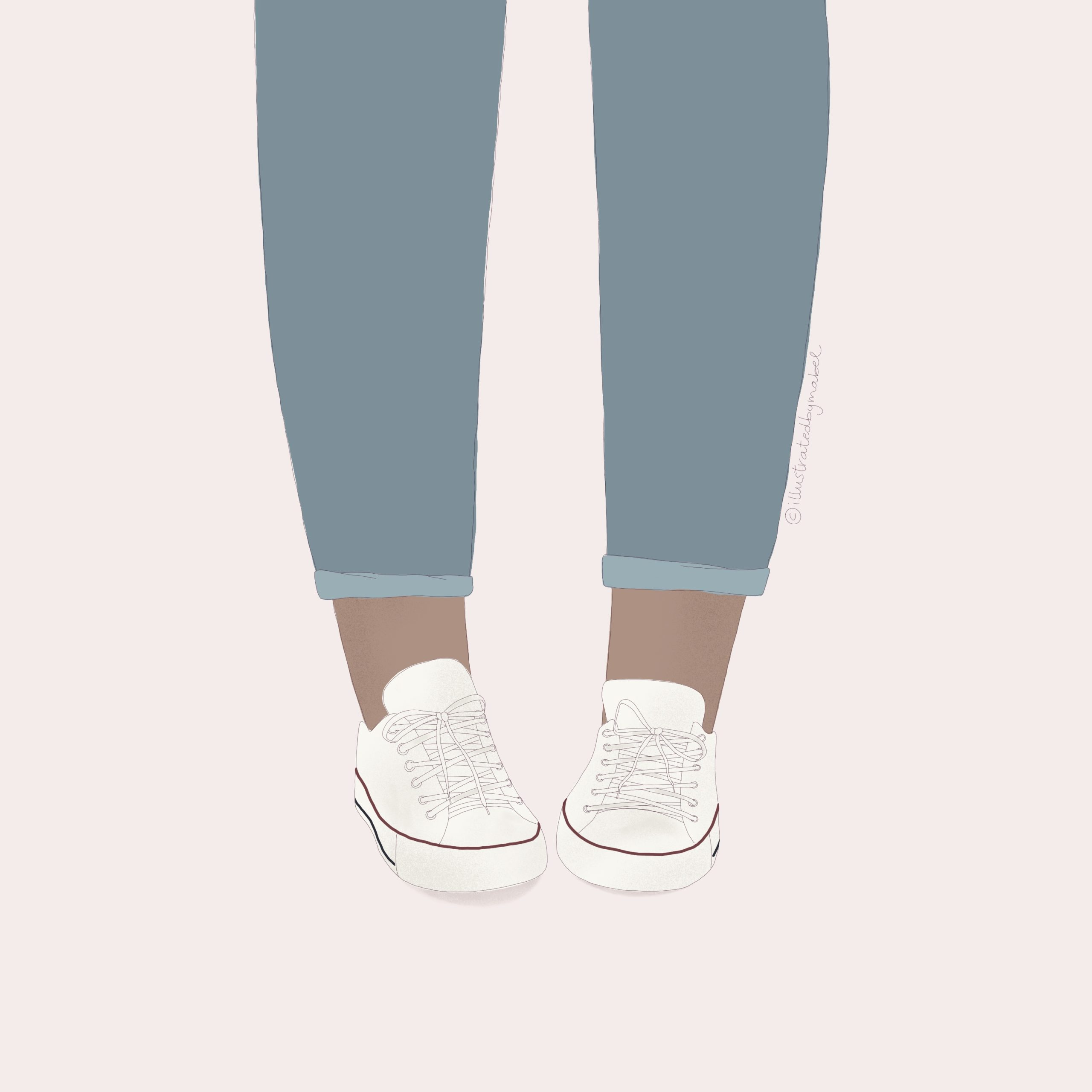 Custom illustration services. Girl wearing jeans and converse shoes.