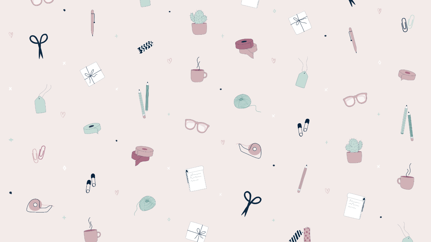 illustrated pattern on pink background featuring the main tools a small creative business owner.