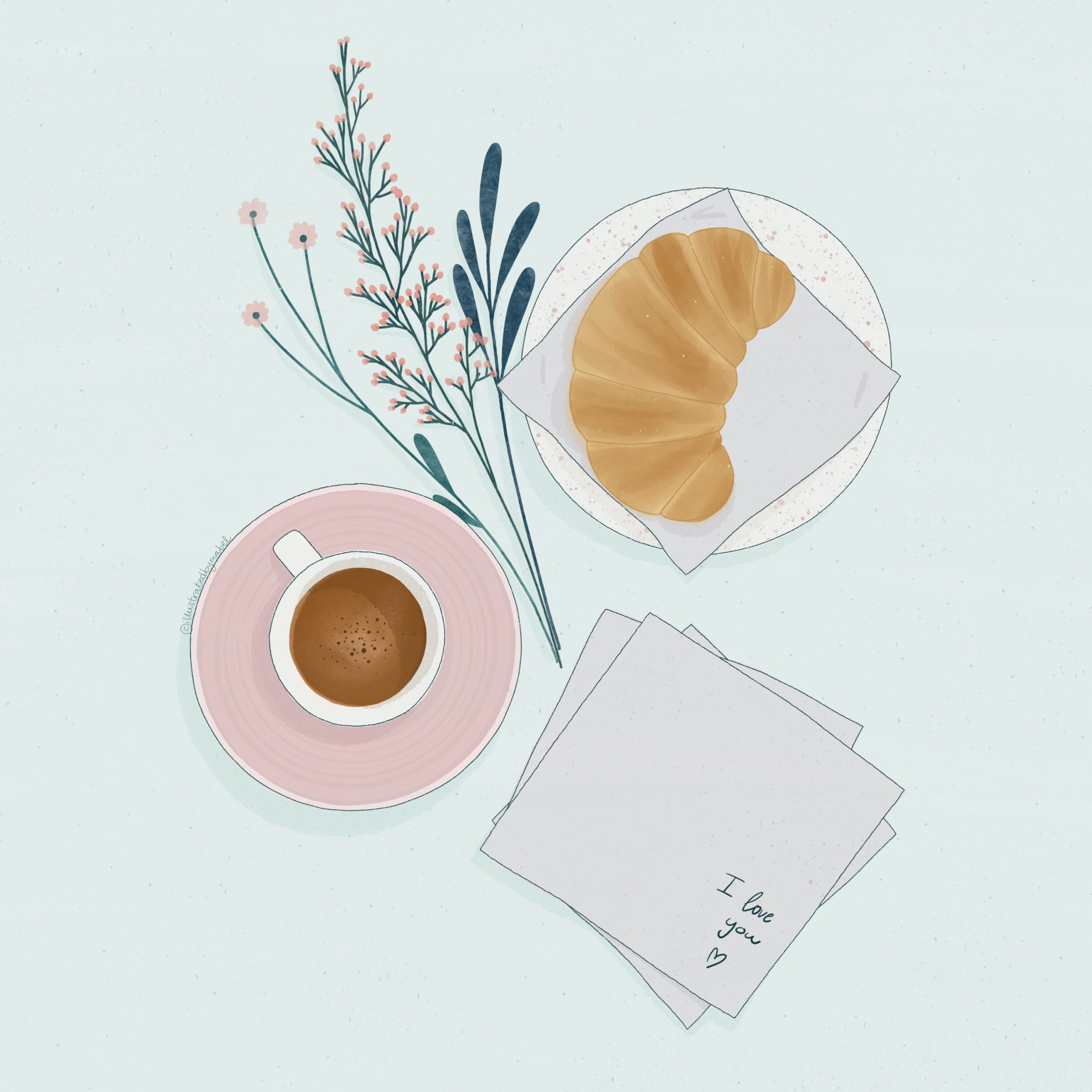 Illustration of a breakfast with espresso coffee, croissant, a tissue with written I love you and a bunch of flowers on the side