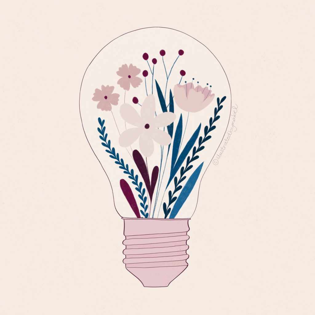 Custom illustration services. Light bulb with flowers inside