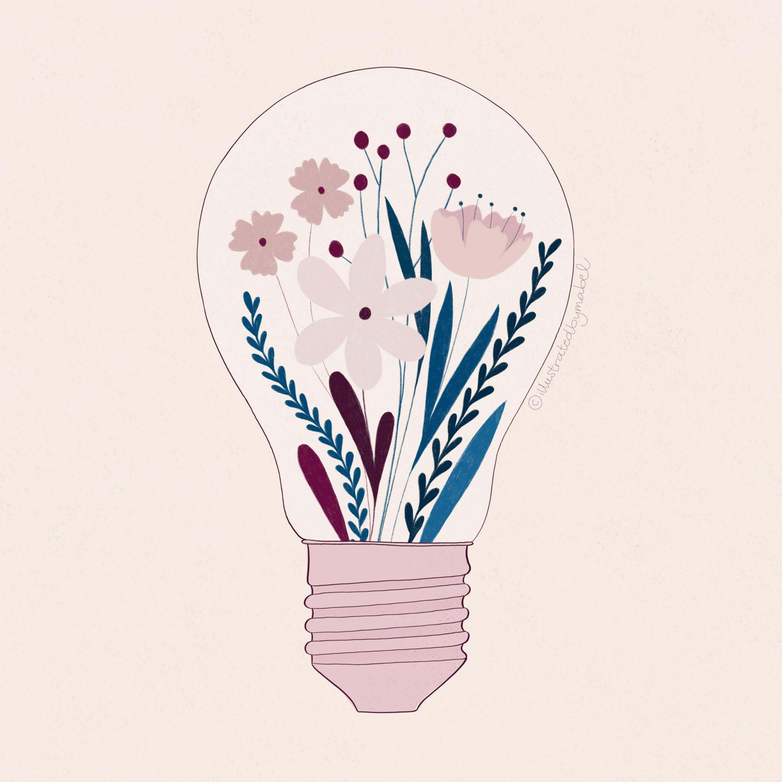 Custom illustration services. Light bulb with flowers inside