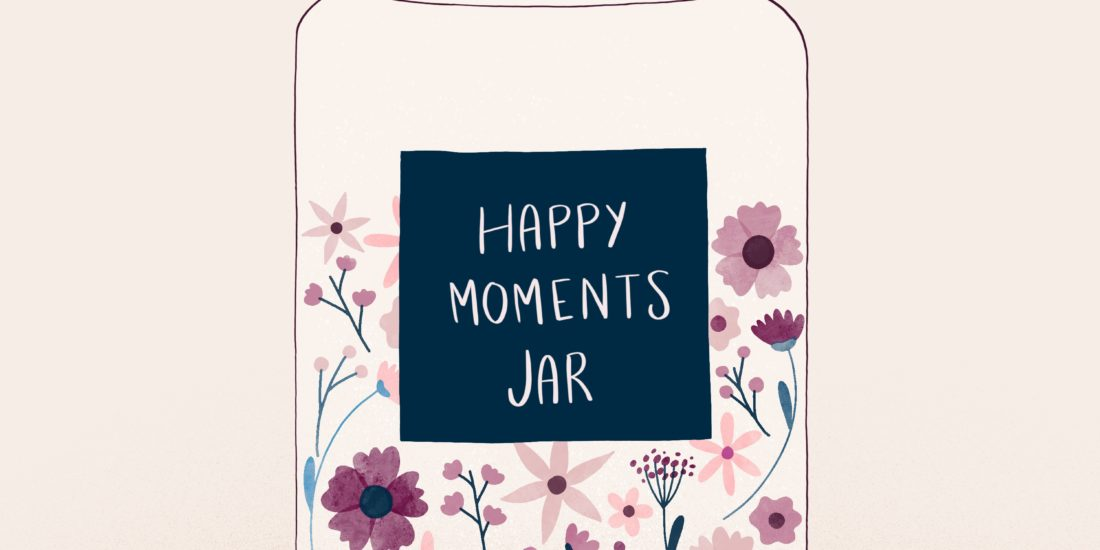 Illustration of a jar with flowers inside and a label with written happy moments jar on it
