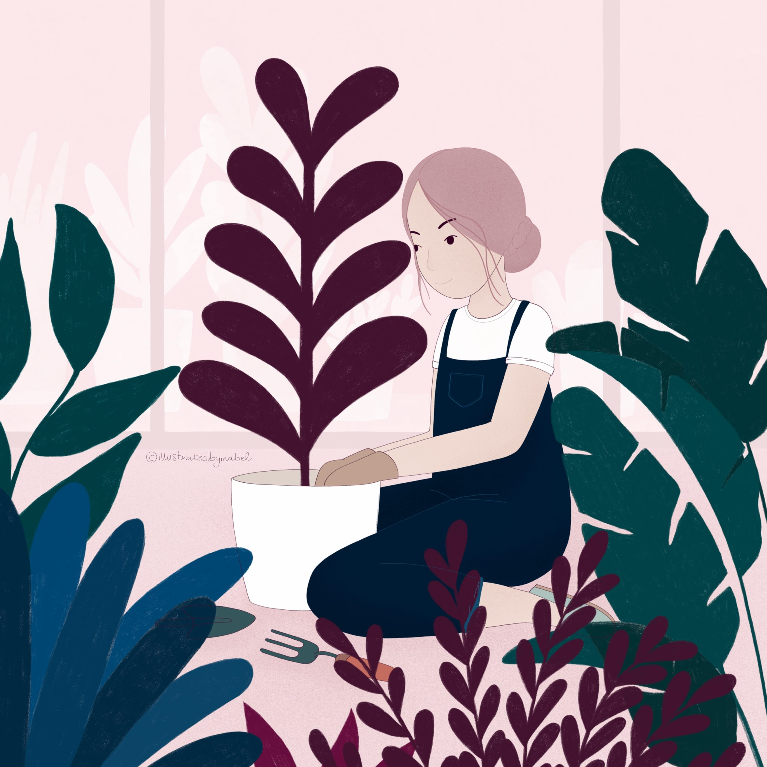 Illustration of a girl gardening inside a greenhouse