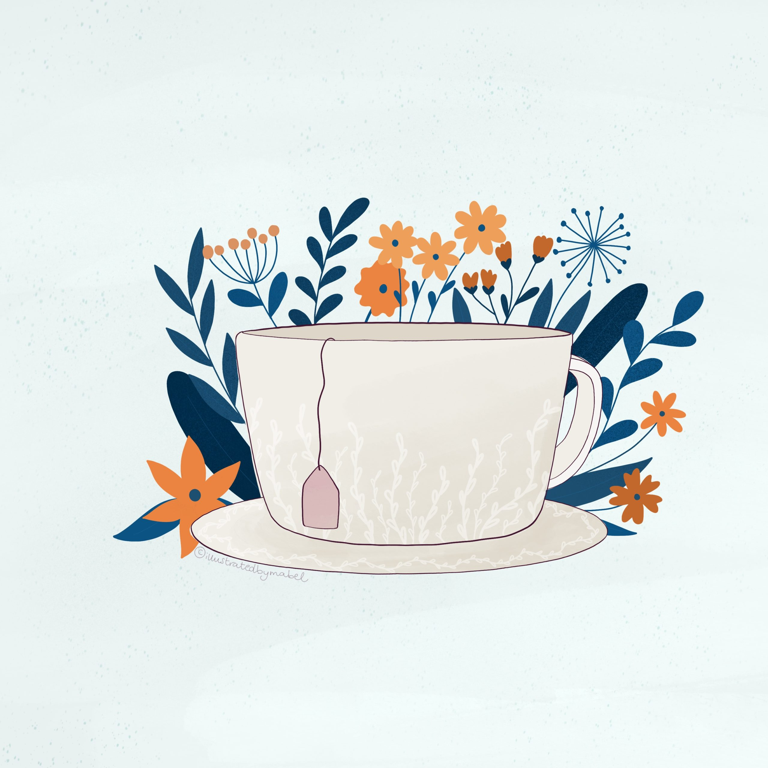 Illustration of a ceramic cup with tea and flowers on the background