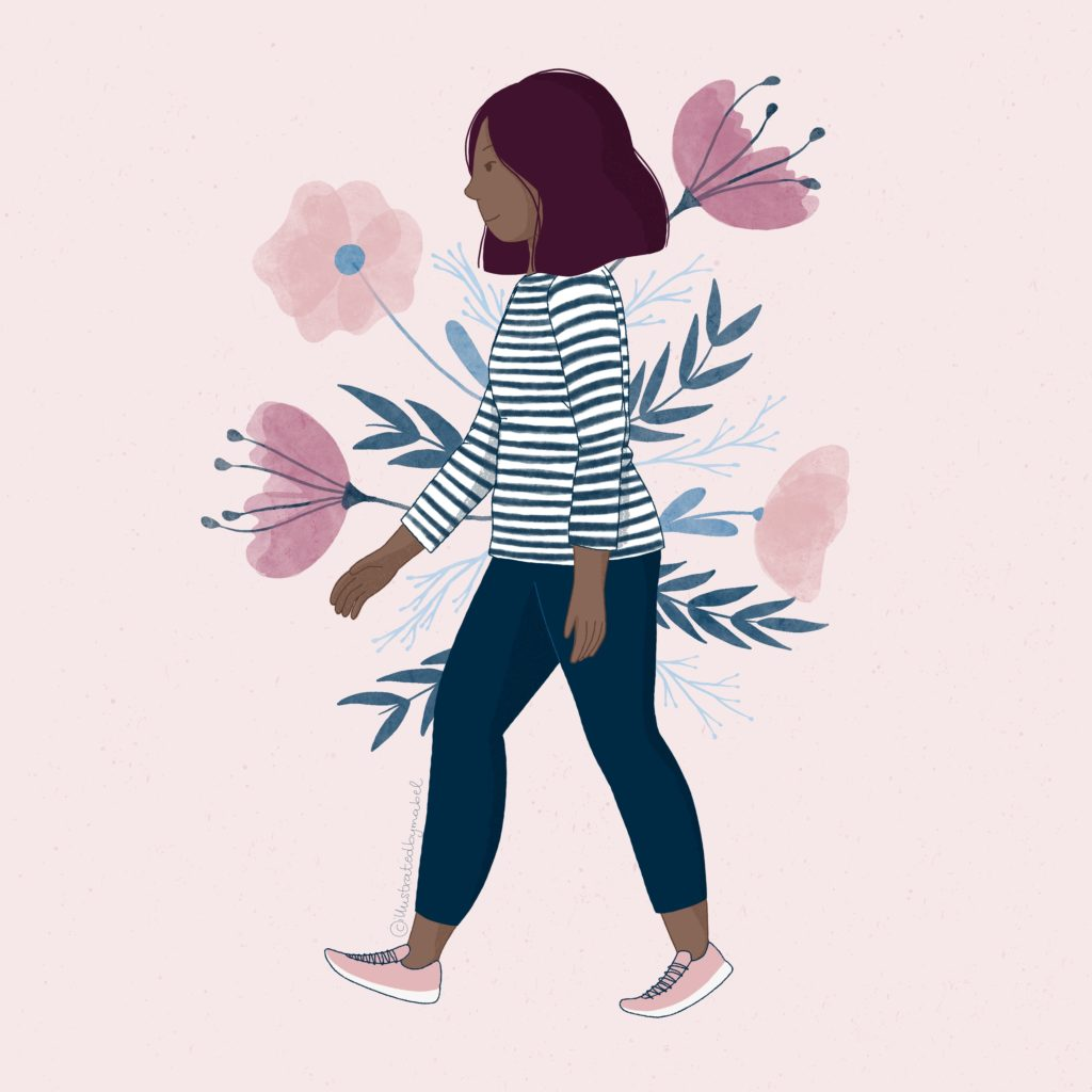 Illustration of a girl walking with flowers on the background
