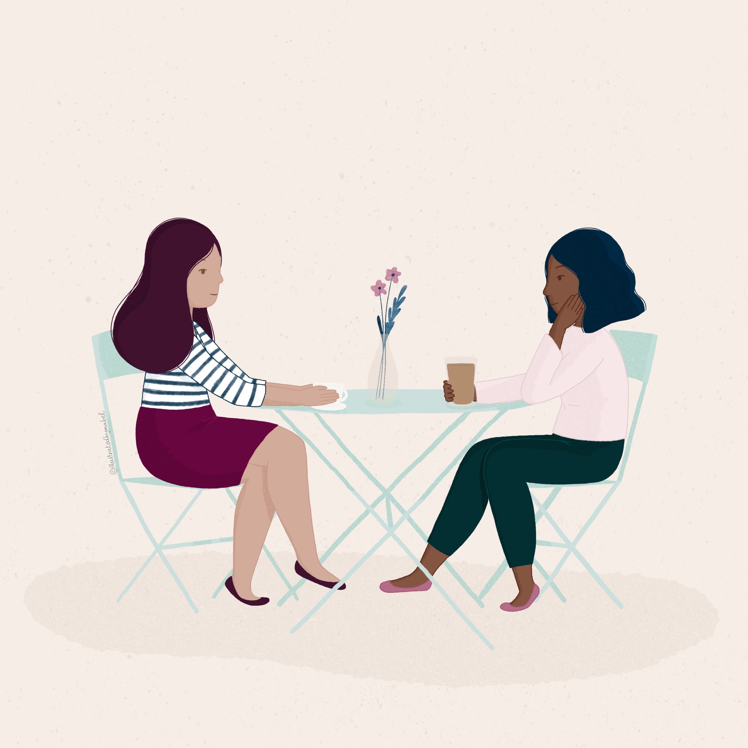 illustrations of two girls chatting at a coffee shop table
