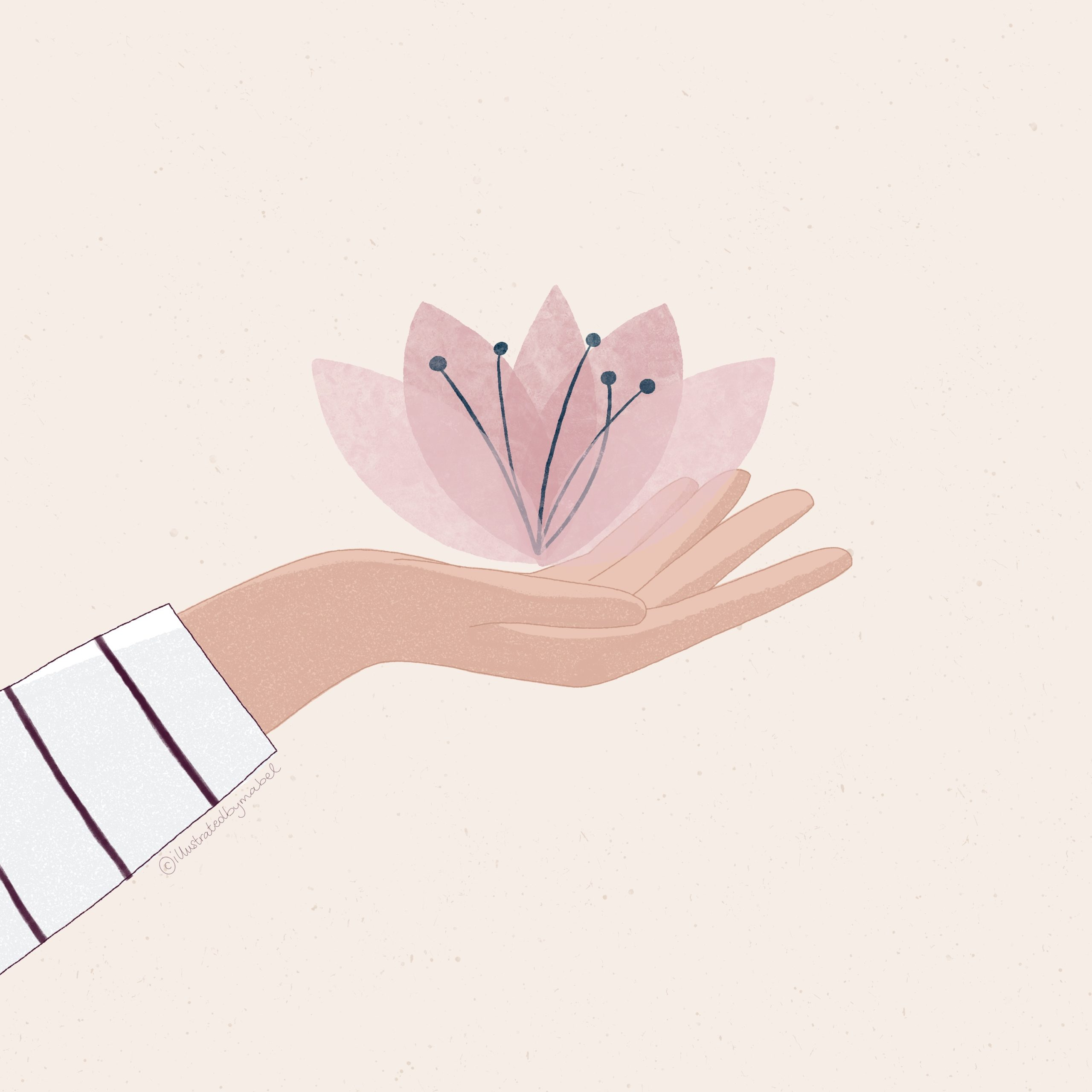 custom illustration services. Hand holding a blossoming flower