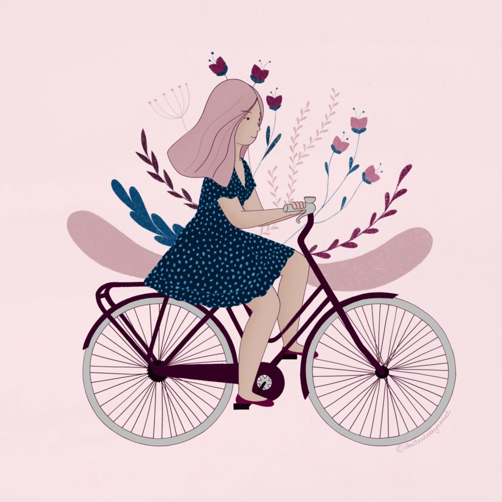 Illustration of a girl wearing a patterned dress riding a bicycle, with flowers on the background