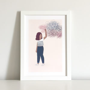 mental health print showing a girl pushing away negativity so she can be present in the moment