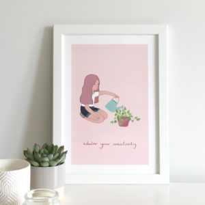 motivational wall art print with girl watering a plant symbolising her creativity and caption that says water your creativity