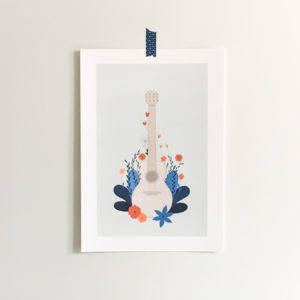Guitar illustration print