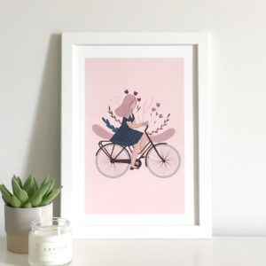 girl on a bicycle art print with flowers opening up behind her to symbolise the importance of time spent in nature