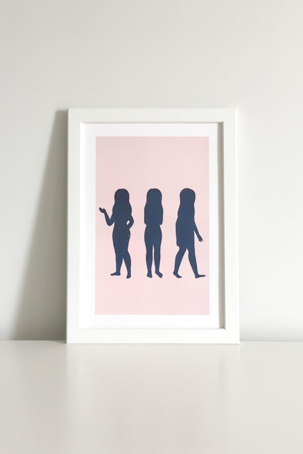 inspiring print with the silhouette of three girls in different poses illustrated with the texture of the sky at night