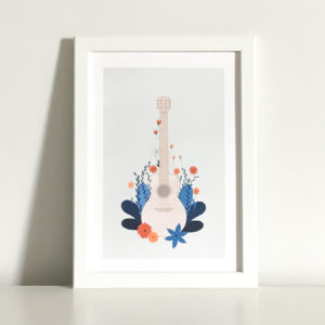 guitar print showing a guitar surrounded by flowers to symbolise the importance of cultivating a new hobby
