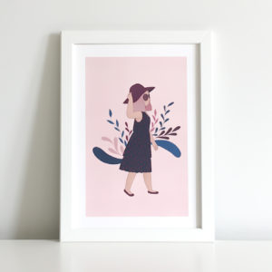 woman with flowers print showing a girl walking and flowers opening up behind her to symbolise the importance of enjoying the sunshine
