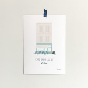 custom home portrait showing a cafe in france