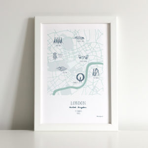 custom map illustration of the city of London