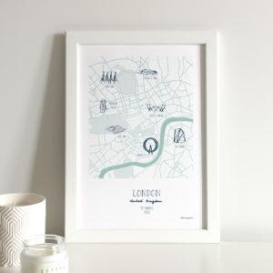 custom map illustration of the city of London