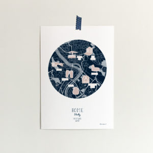 custom map illustration of the city of Rome in Italy