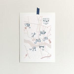 custom map illustration of the city of Porto in Portugal