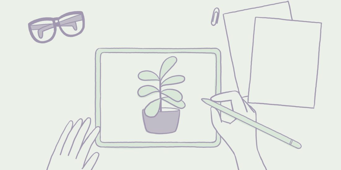 hire a freelance illustrator - illustration of girl drawing on an iPad