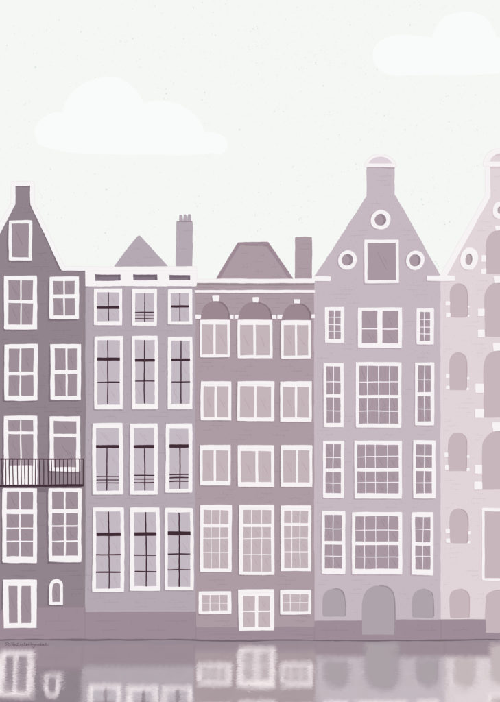 illustration of a building block facing on of Amsterdam canals.