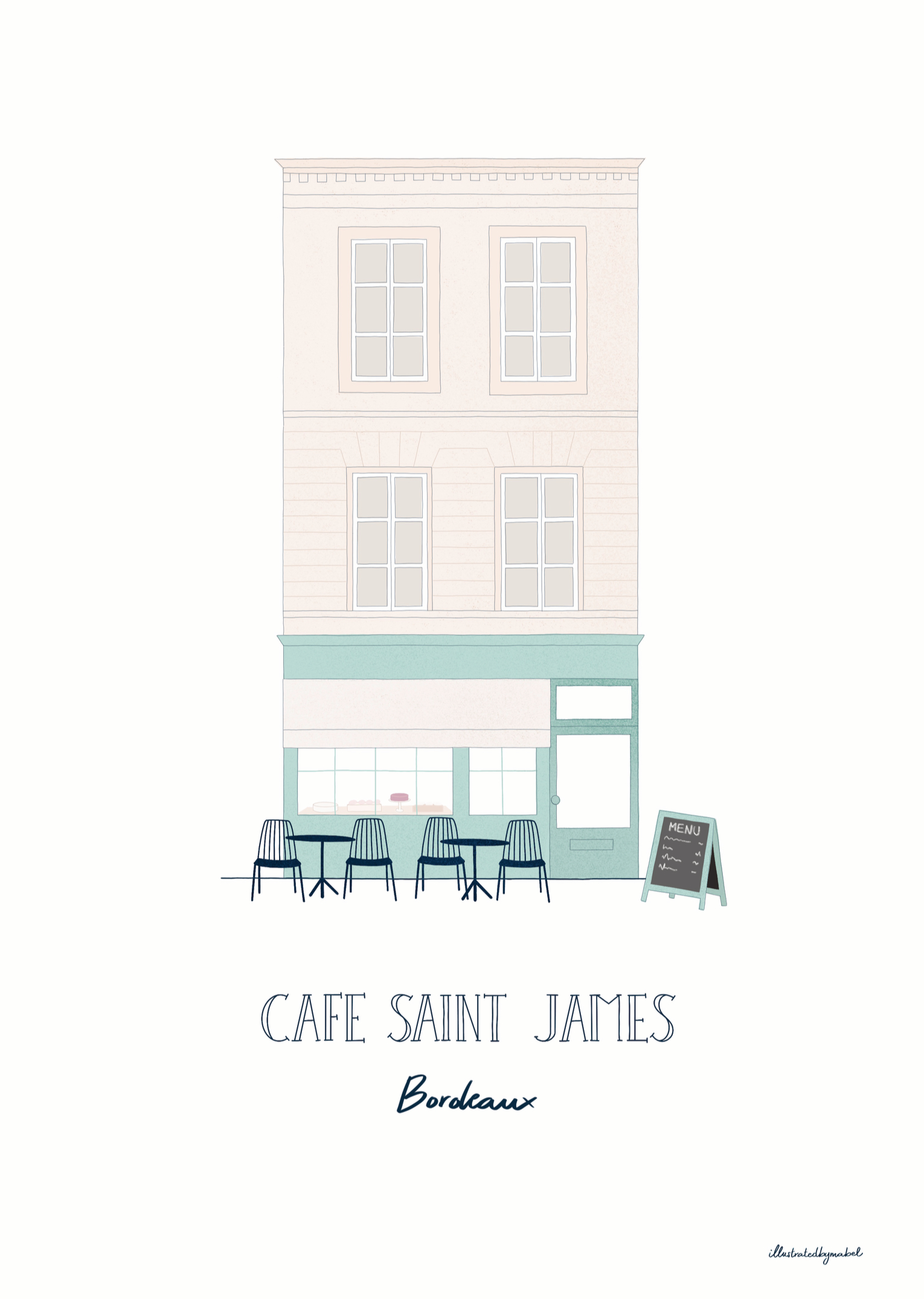Illustration of a building with a cafe on the ground floor
