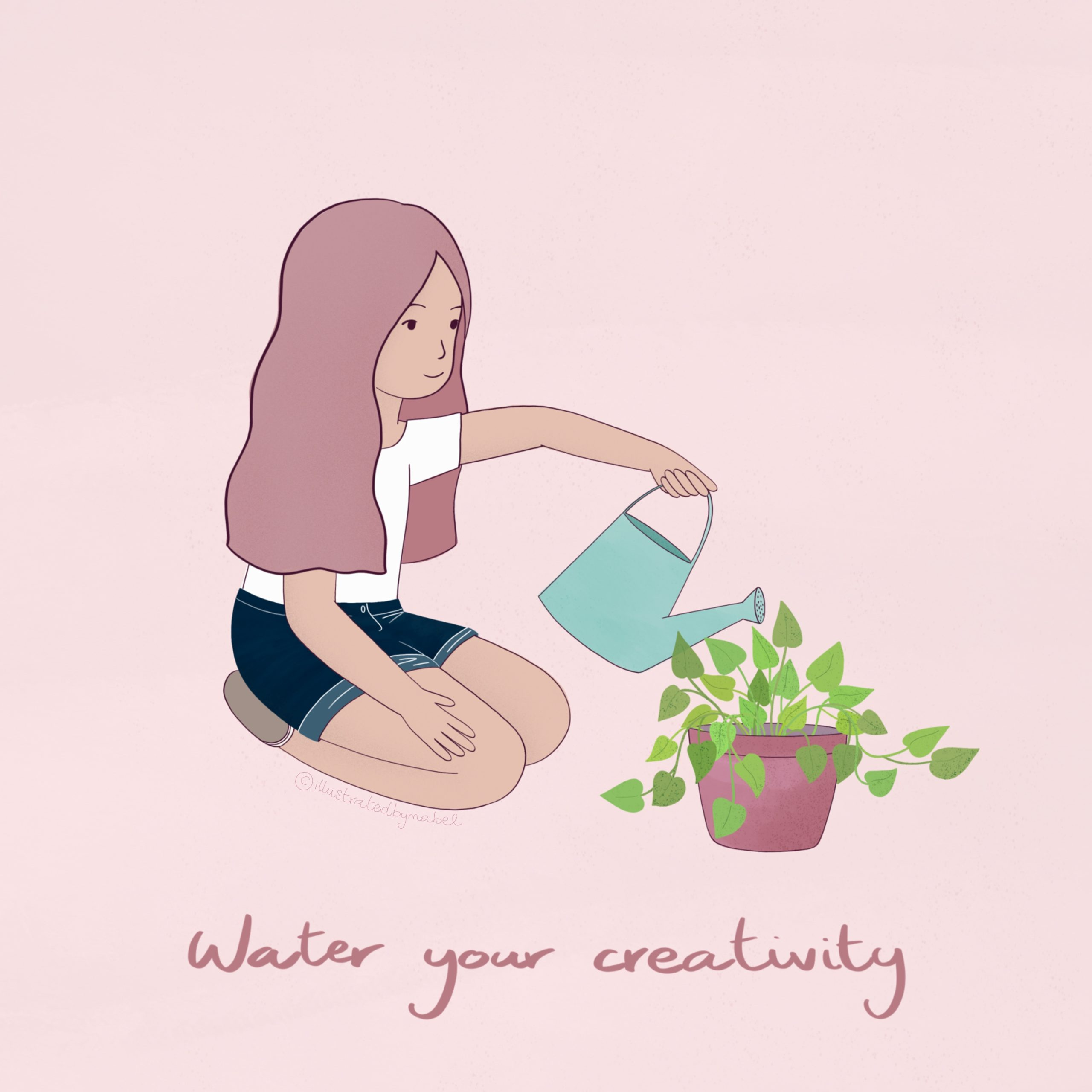 illustration of a girl watering a plant that symbolises her creativity