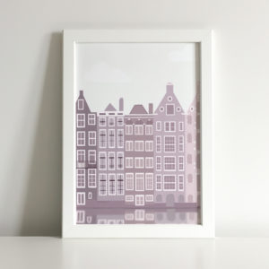 Illustrated print of some buildings facing one of Amsterdam's canal.