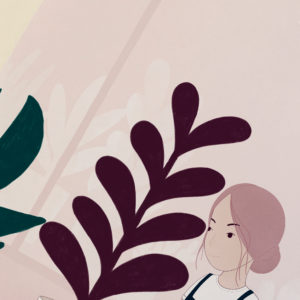 Illustrated print showing a girl gardening in a greenhouse.