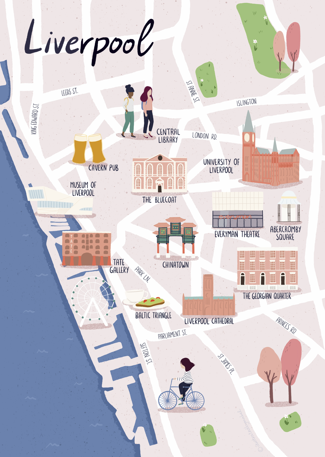 Illustrated map of Liverpool