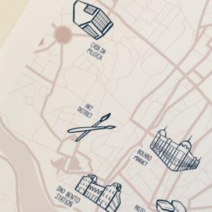 custom map illustration of the city of Porto
