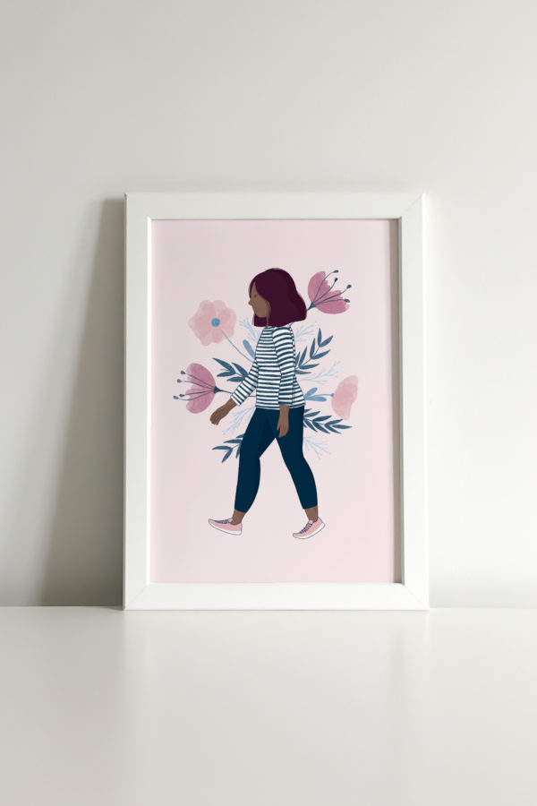 custom portrait of a girl with her favourite flowers on the background