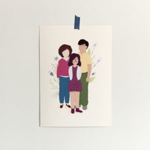 custom portrait of a family with flowers on the background
