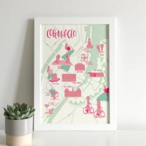 Illustrated map print of Copenhagen city centre
