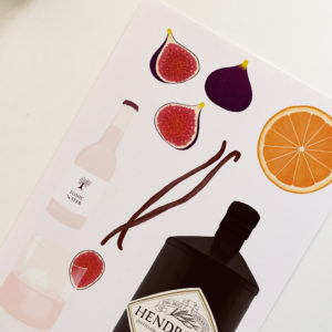 Illustrated print of the ingredients needed for Hendrick's Gin and Tonic