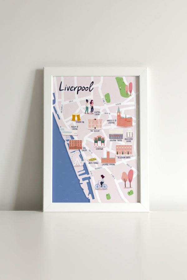 Illustrated map print of Liverpool city centre