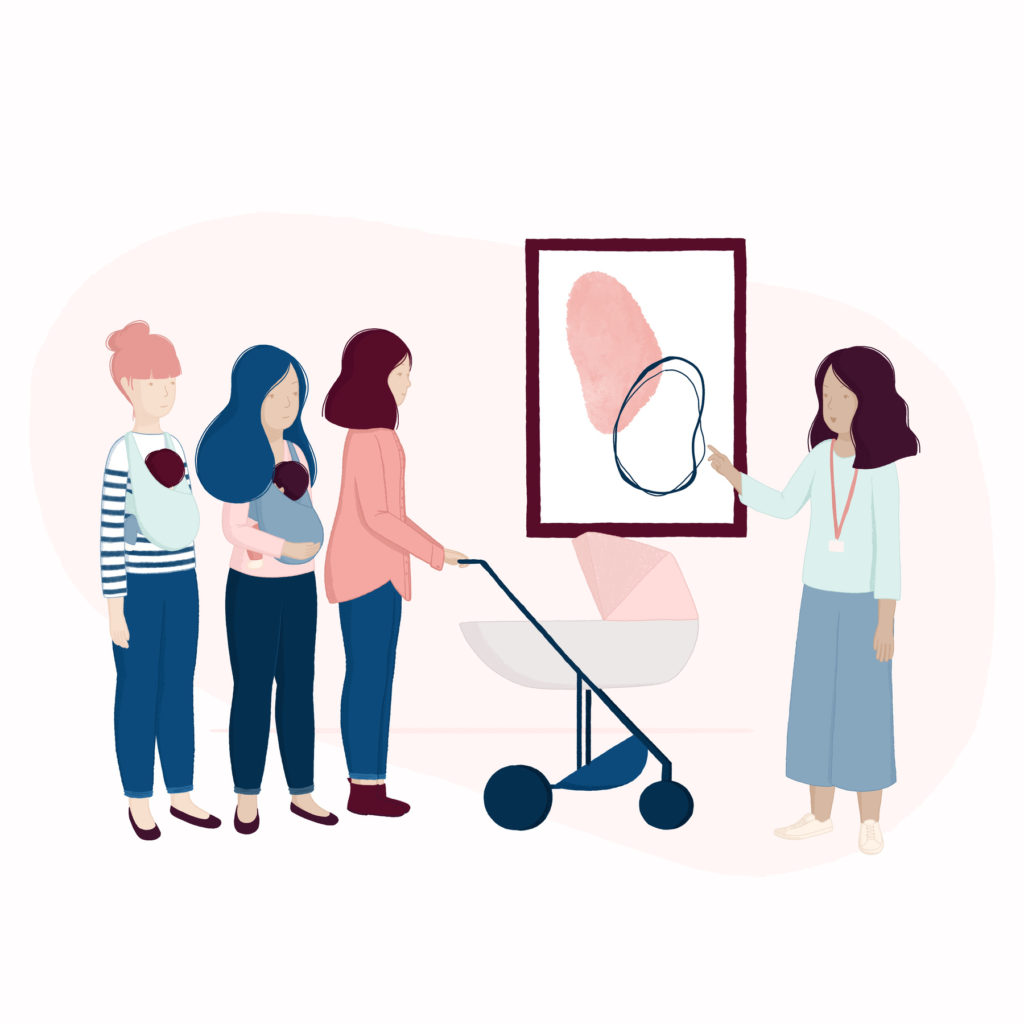 Website illustration for Mamme In Mostra - new moms in a museum