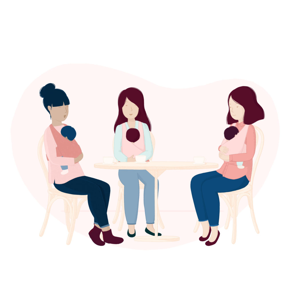 Website illustration for Mamme In Mostra - new moms in a coffee shop