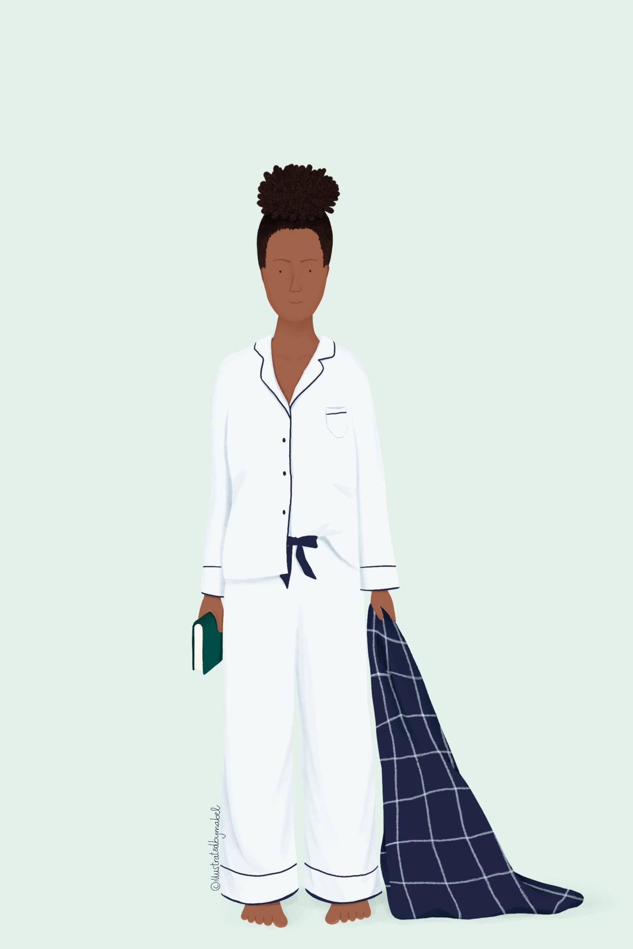 woman in pajamas illustration
