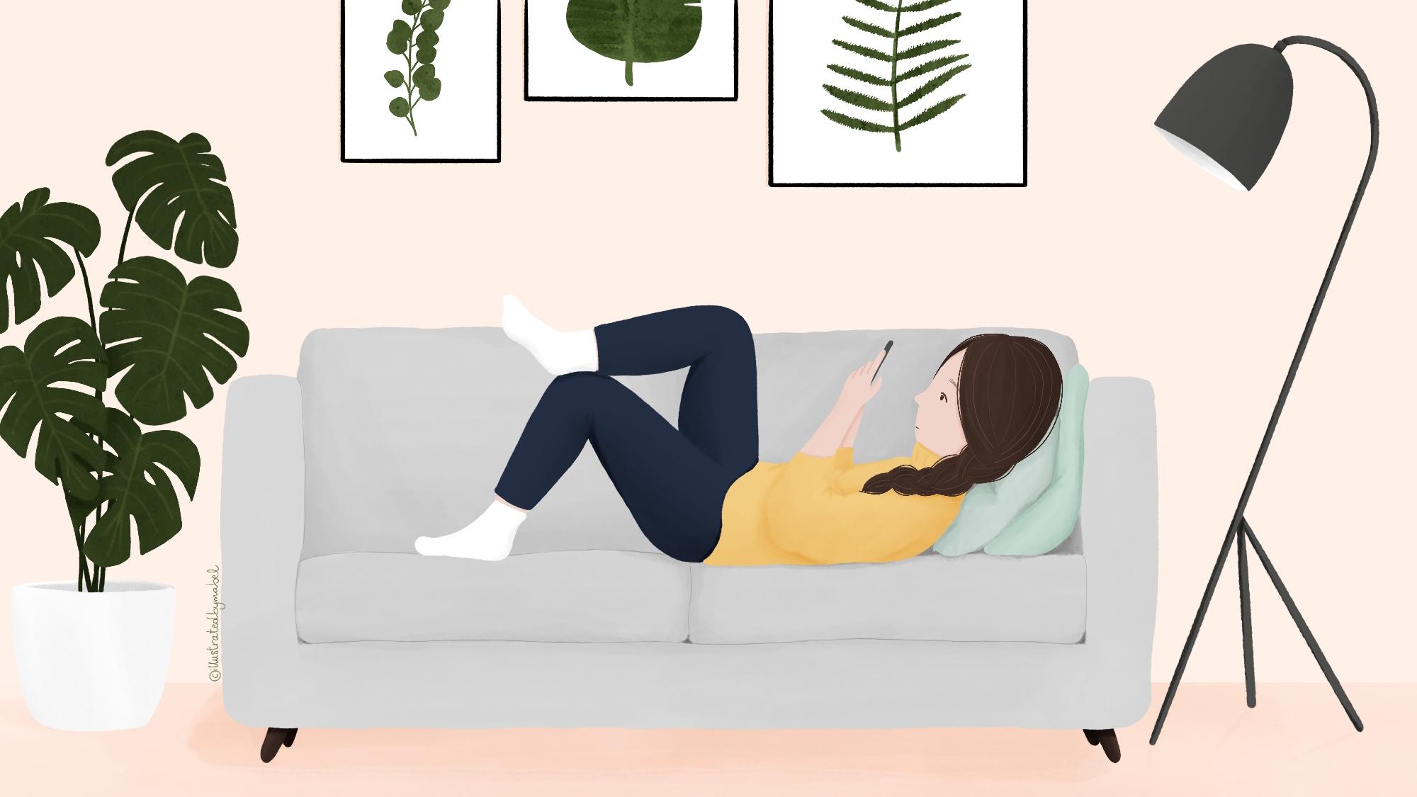 Phone sofa woman illustration