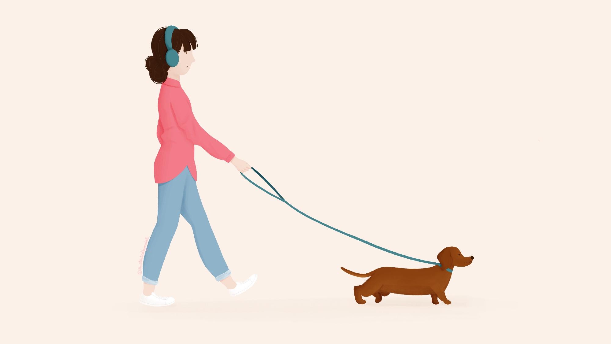 woman walking dog illustration