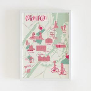 Copenhagen illustrated map print