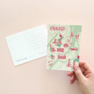 Copenhagen map postcard