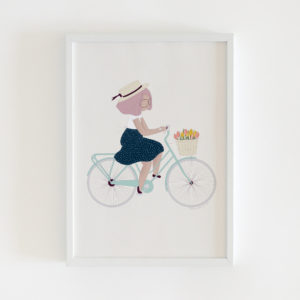 Girl on bicycle illustration print