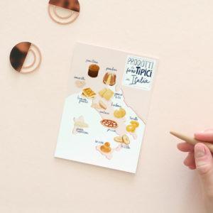 Italy food map postcard
