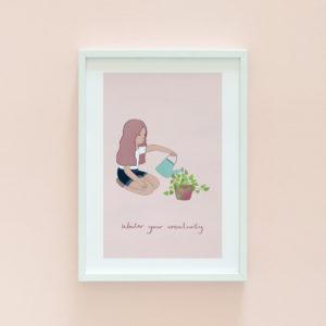 Plant lady illustration print