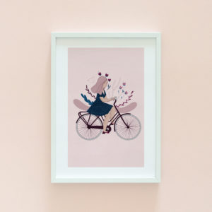 Woman on bicycle illustration print
