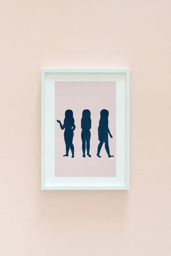 Woman silhouette illustration print